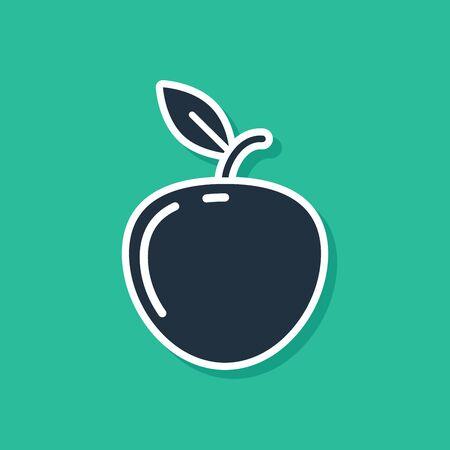 Blue Apple icon isolated on green background. Fruit with leaf symbol. Vector Illustration Ilustracja