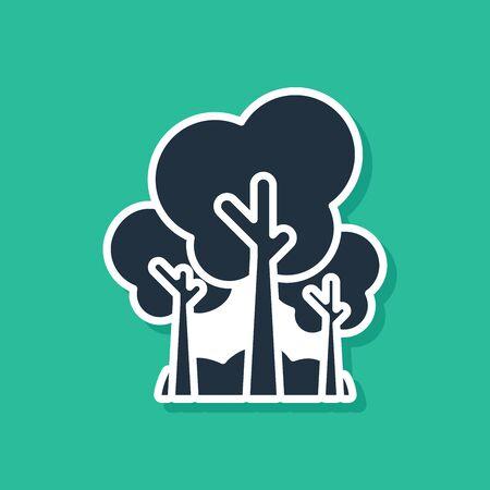 Blue Trees icon isolated on green background. Forest symbol. Vector Illustration