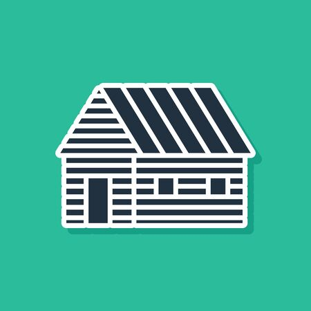 Blue Farm house icon isolated on green background. Vector Illustration