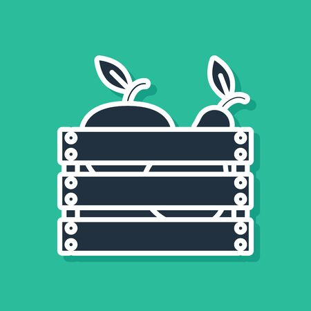 Blue Wooden box for fruits and vegetables icon isolated on green background. Vector Illustration