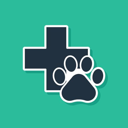 Blue Veterinary clinic symbol icon isolated on green background. Cross hospital sign. A stylized paw print dog or cat. Pet First Aid sign. Vector Illustration