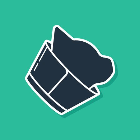 Blue Veterinary clinic symbol icon isolated on green background. Cat veterinary care. Pet First Aid sign. Vector Illustration