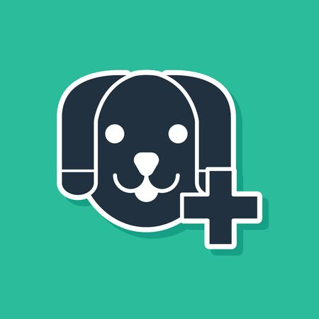 Blue Veterinary clinic symbol icon isolated on green background. Cross with dog veterinary care. Pet First Aid sign. Vector Illustration