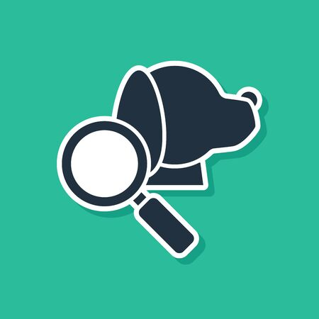 Blue Veterinary clinic symbol icon isolated on green background. Magnifying glass with dog veterinary care. Pet First Aid sign. Vector Illustration