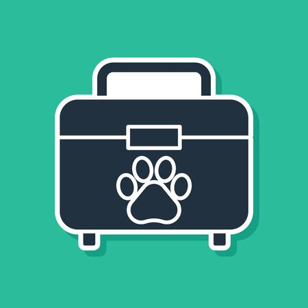Blue Pet first aid kit icon isolated on green background. Dog or cat paw print. Clinic box. Vector Illustration