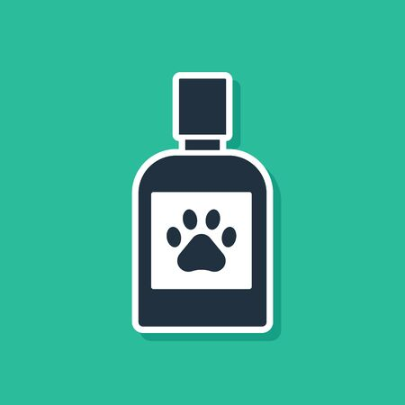 Blue Dog medicine bottle icon isolated on green background. Container with pills. Prescription medicine for animal. Vector Illustration