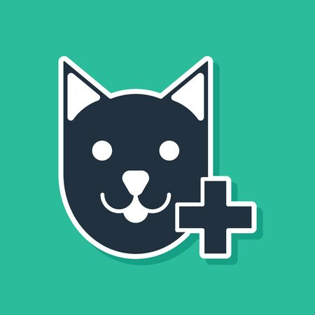 Blue Veterinary clinic symbol icon isolated on green background. Cross with cat veterinary care. Pet First Aid sign. Vector Illustration