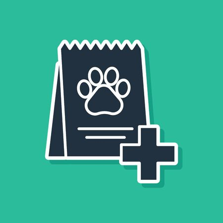 Blue Bag of food for dog icon isolated on green background. Dog or cat paw print. Food for animals. Pet food package. Vector Illustration Stock Illustratie