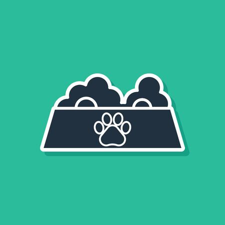 Blue Pet food bowl for cat or dog icon isolated on green background. Dog or cat paw print. Vector Illustration