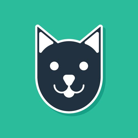 Blue Cat icon isolated on green background. Vector Illustration