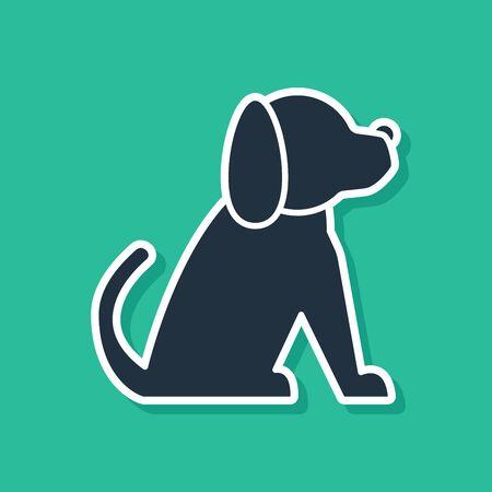 Blue Dog icon isolated on green background. Vector Illustration Stock Illustratie