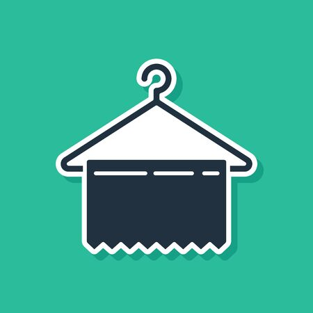 Blue Hanger wardrobe icon isolated on green background. Clean towel sign. Cloakroom icon. Clothes service symbol. Laundry hanger sign. Vector Illustration Stock Illustratie