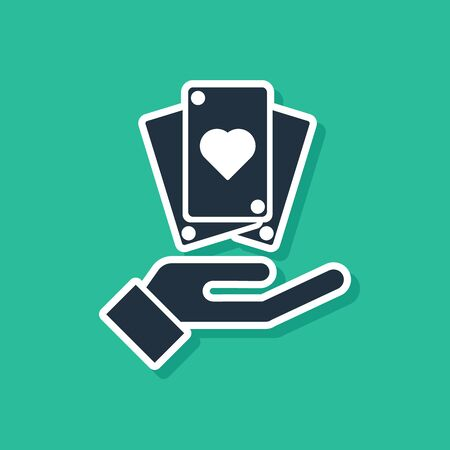Blue Hand holding playing cards icon isolated on green background. Casino game design. Vector Illustration