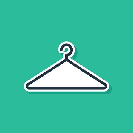 Blue Hanger wardrobe icon isolated on green background. Cloakroom icon. Clothes service symbol. Laundry hanger sign. Vector Illustration