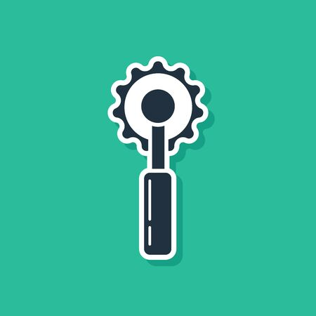 Blue Cutter tool icon isolated on green background. Sewing knife with blade. Vector Illustration Ilustração