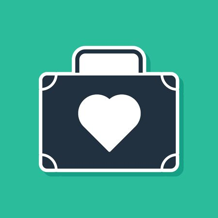 Blue Suitcase for travel with heart icon isolated on green background. Honeymoon symbol. Traveling baggage sign. Travel luggage icon. Vector Illustration 向量圖像