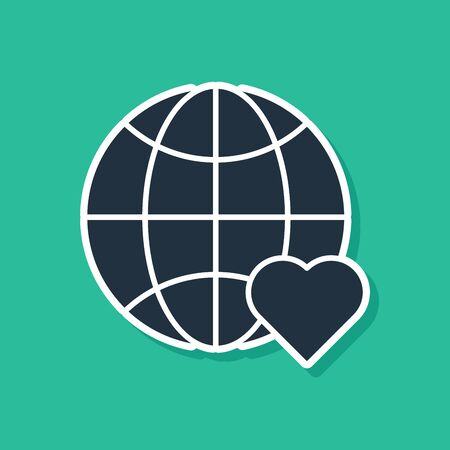 Blue The heart world - love icon isolated on green background. Vector Illustration