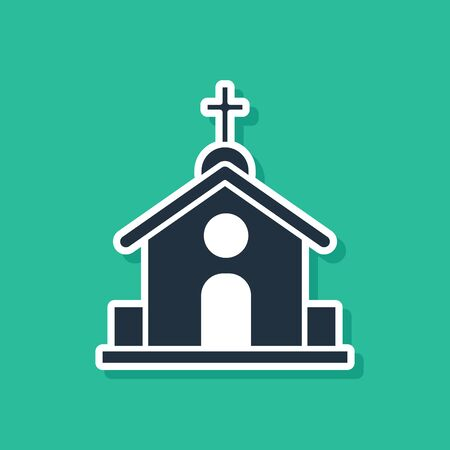 Blue Church building icon isolated on green background. Christian Church. Religion of church. Vector Illustration