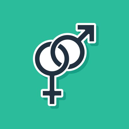 Blue Gender icon isolated on green background. Symbols of men and women. Sex symbol. Vector Illustration
