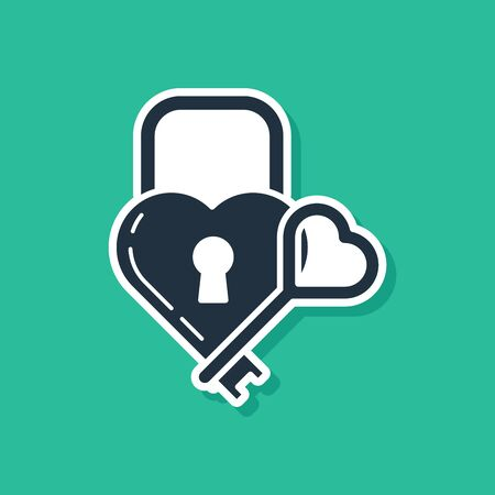 Blue Castle in the shape of a heart and key icon isolated on green background. Locked Heart. Love symbol and keyhole sign. Vector Illustration 일러스트