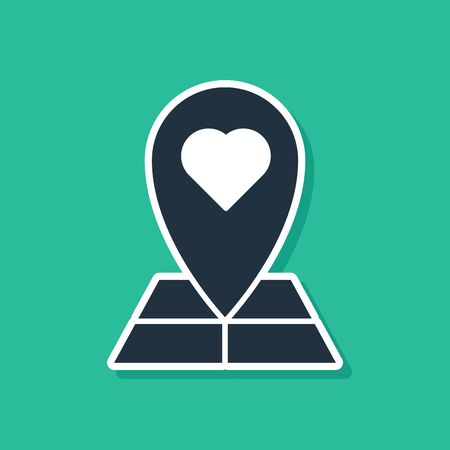 Blue Map pointer with heart icon isolated on green background. Valentines day. Love location. Romantic map pin. Vector Illustration