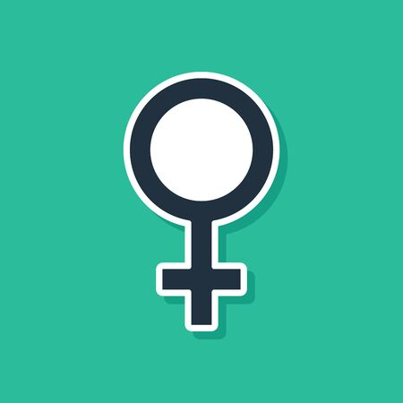 Blue Female gender symbol icon isolated on green background. Venus symbol. The symbol for a female organism or woman. Vector Illustration Illustration