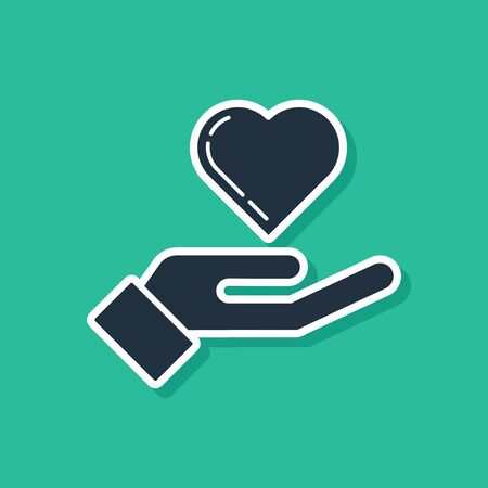 Blue Heart on hand icon isolated on green background. Hand giving love symbol. Vector Illustration