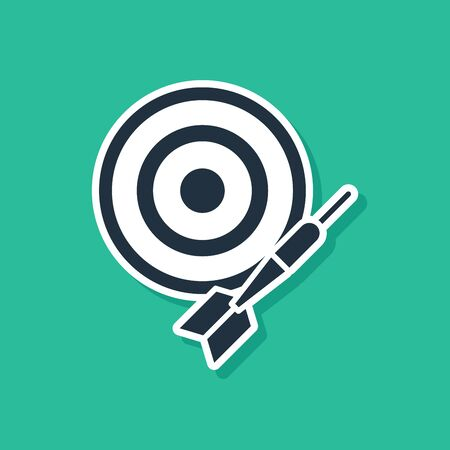 Blue Classic dart board and arrow icon isolated on green background. Dartboard sign. Game concept. Vector Illustration 일러스트