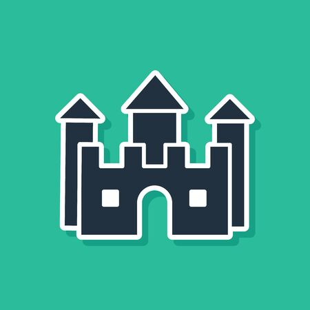 Blue Castle icon isolated on green background. Vector Illustration Stock Illustratie