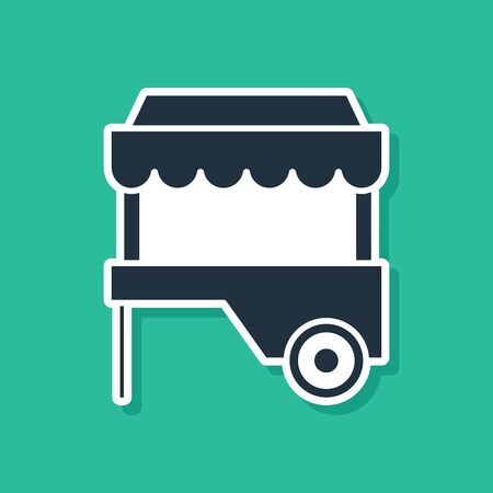 Blue Fast street food cart with awning icon isolated on green background. Urban kiosk. Vector Illustration
