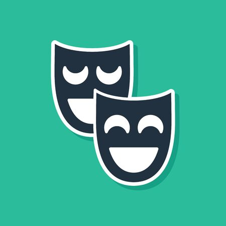 Blue Comedy theatrical masks icon isolated on green background. Vector Illustration