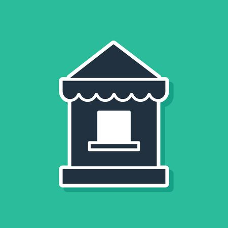 Blue Ticket box office icon isolated on green background. Ticket booth for the sale of tickets for attractions and sports. Vector Illustration Illustration