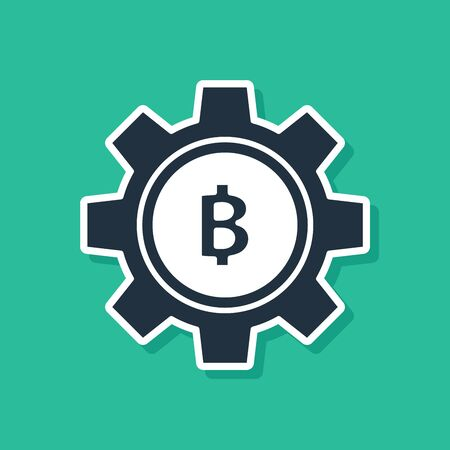 Blue Cryptocurrency coin Bitcoin icon isolated on green background. Gear and Bitcoin setting. Blockchain based secure crypto currency. Vector Illustration