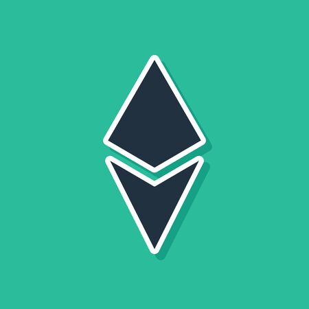 Blue Cryptocurrency coin Ethereum ETH icon isolated on green background. Altcoin symbol. Blockchain based secure crypto currency. Vector Illustration