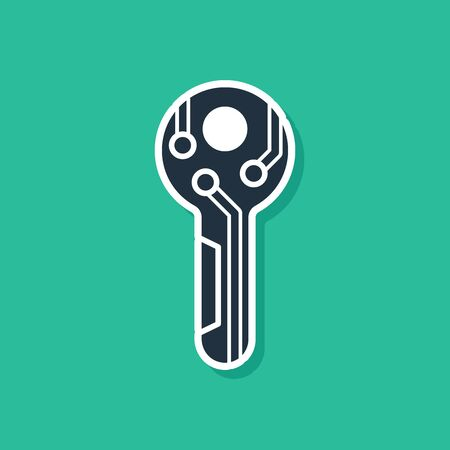Blue Cryptocurrency key icon isolated on green background. Concept of cyber security or private key, digital key with technology interface. Vector Illustration 일러스트