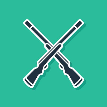 Blue Two crossed shotguns icon isolated on green background. Hunting gun. Vector Illustration Ilustrace