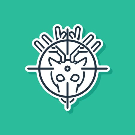 Blue Hunt on deer with crosshairs icon isolated on green background. Hunting club logo with deer and target. Rifle lens aiming a deer. Vector Illustration