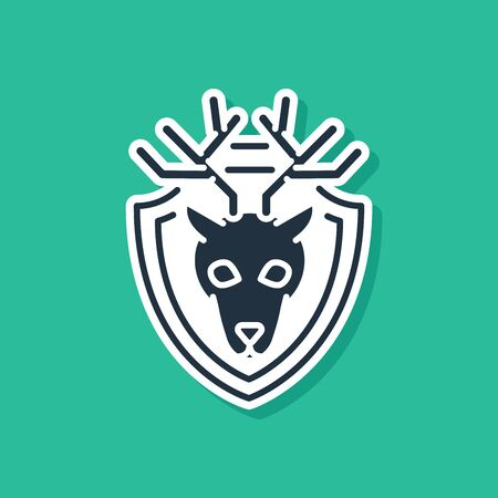 Blue Deer head with antlers on shield icon isolated on green background. Hunting trophy on wall. Vector Illustration