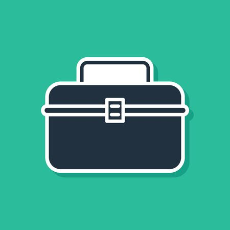 Blue Case or box container for wobbler and gear fishing equipment icon isolated on green background. Fishing tackle. Vector Illustration