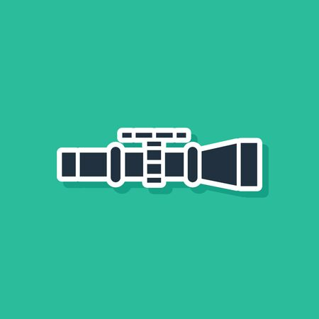 Blue Sniper optical sight icon isolated on green background. Sniper scope crosshairs. Vector Illustration