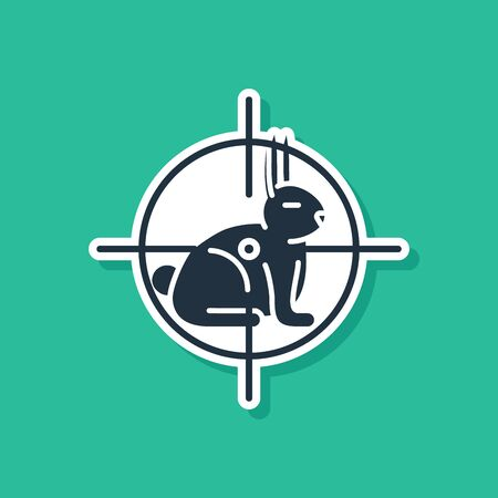 Blue Hunt on rabbit with crosshairs icon isolated on green background. Hunting club logo with rabbit and target. Rifle lens aiming a hare. Vector Illustration Ilustracja