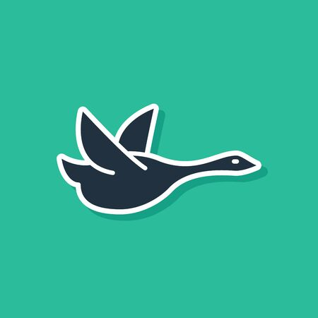 Blue Flying duck icon isolated on green background. Vector Illustration