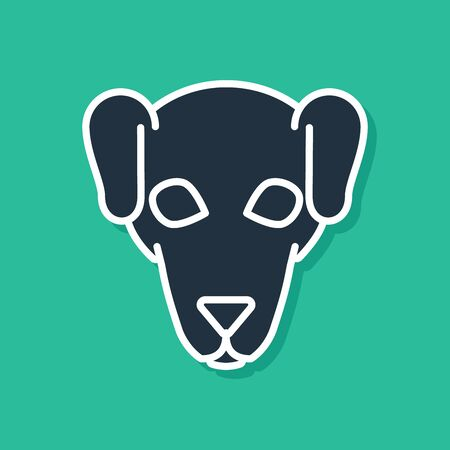 Blue Hunting dog icon isolated on green background. Vector Illustration