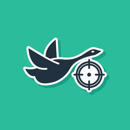 Blue Hunt on duck with crosshairs icon isolated on green background. Hunting club logo with duck and target. Rifle lens aiming a duck. Vector Illustration