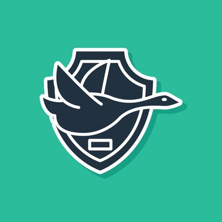 Blue Flying duck on shield icon isolated on green background. Hunting trophy on wall. Vector Illustration