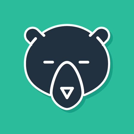 Blue Bear head icon isolated on green background. Vector Illustration