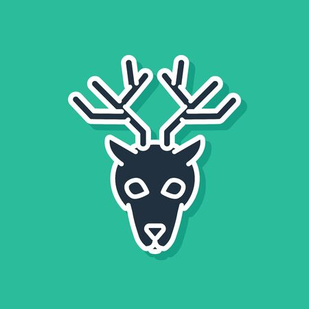 Blue Deer head with antlers icon isolated on green background. Vector Illustration Ilustracja