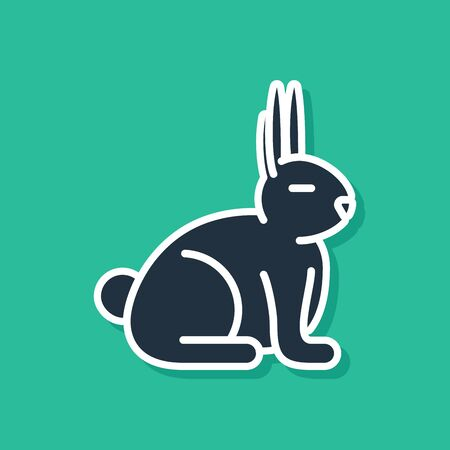 Blue Rabbit icon isolated on green background. Vector Illustration
