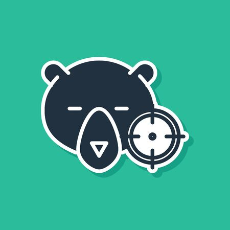 Blue Hunt on bear with crosshairs icon isolated on green background. Hunting club logo with bear and target. Rifle lens aiming a bear. Vector Illustration