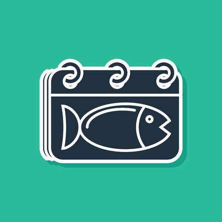 Blue Calendar with a fish icon isolated on green background. Day of fish. Vector Illustration